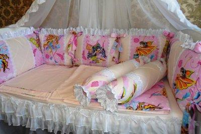 Бортики+постельное детское в манеж