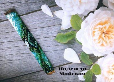 Авторское украшение из бисера на руку жгут- браслет Глаз Атлантиды