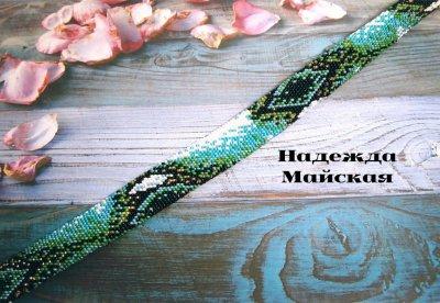 Авторское украшение из бисера на шею жгут-колье Глаз Атлантиды