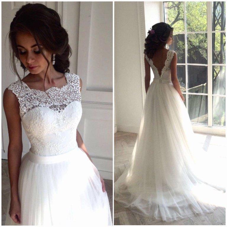 824a8159a216487 Красивое модное свадебное платье 2018 с пышной длинной юбкой и открытой  спиной СВ-586