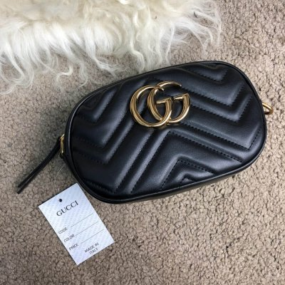 Gucci GG Marmont Matelassé Belt Bag Black. Женская сумка