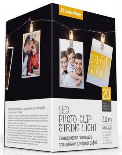 Светодиодная гирлянда ColorWay 20LED 3м с прищепками для фото