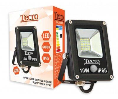 Светодиодный прожектор с датчиком движения Tecro TL-FL-10B-PR 10W 6400K