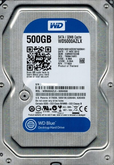 "Винчестер SATA 3,5"" 500GB WD Blue 7200rpm 32MB"