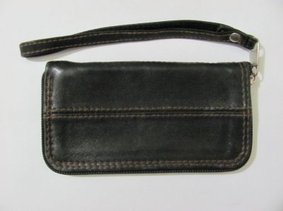 Барсетка-футляр на змейке для телефона коричневая