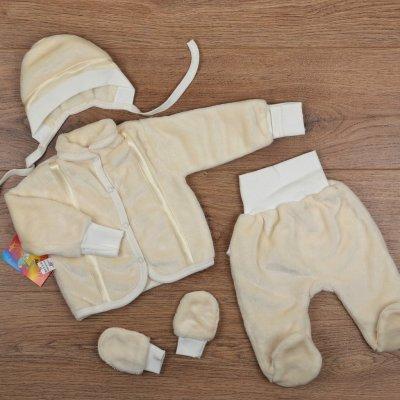 Теплый и необычайно мягкий комплект для новорожденного - велсофт - 4 предмета - р.62