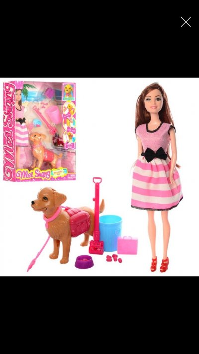 Кукла типа барби с собачкой, набор для уборки за собачкой