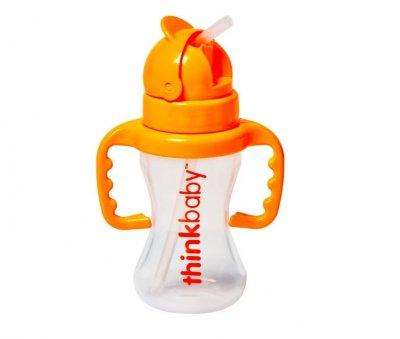 Поильник непроливайка с трубочкой, Straw Bottle, Orange от Think