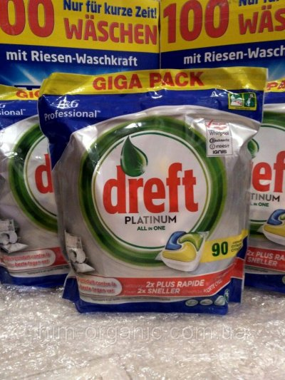 Гелевые капсулы для посудомоечных машин Dreft Platinum Orange 90 шт