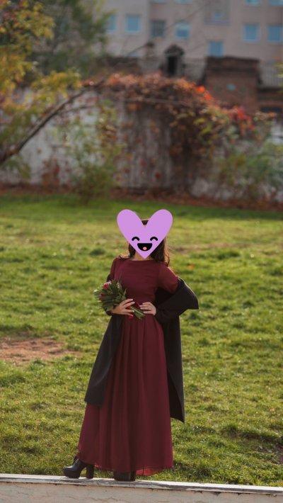 Платье в пол цвета марсала