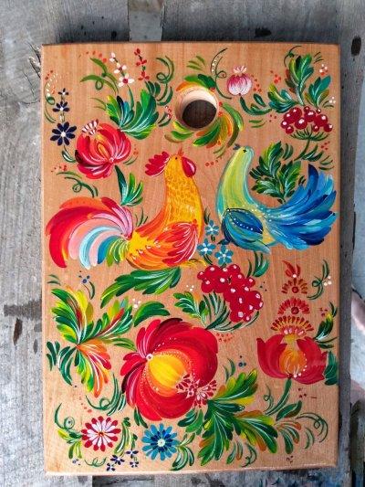 Доска для нарезки,ручная работа,петриковская роспись