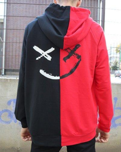 Худи двухцветный Be Happy черно-красное