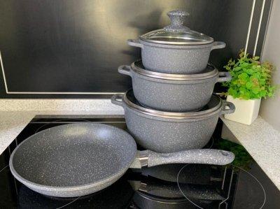 Набор кастрюль и сковорода мрамор 7 предметов