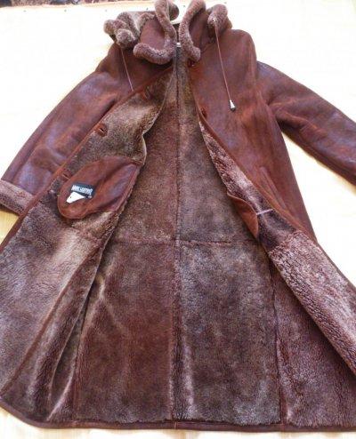 Дубленка длинная женская Mark Leather с капюшоном, натуральная овчина