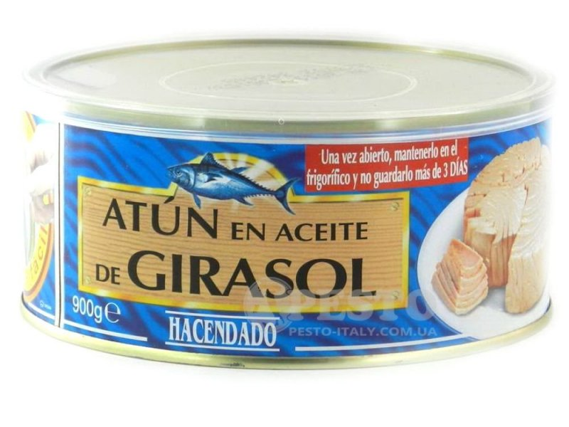Тунець Hacendado Atun en aceite de girasol 0.900 кг (філе)