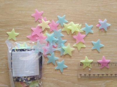 Звёзды фосфорные 100 шт Разноцветные на потолок светятся ночью