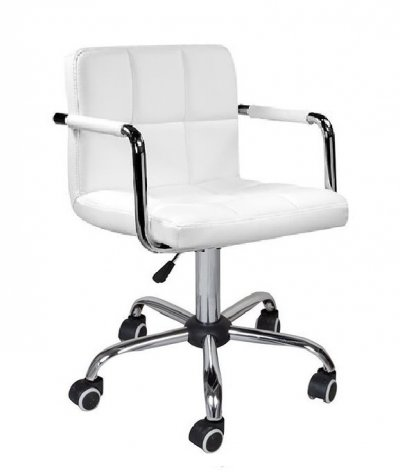 Кресло Артур, цвет белый на колесах