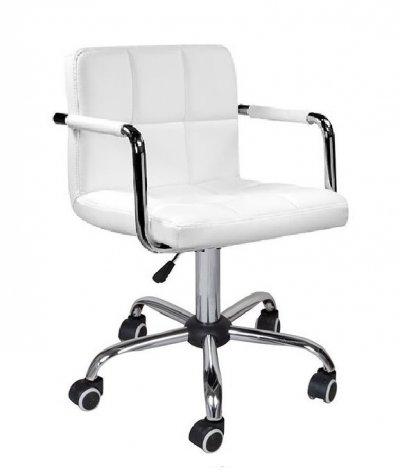 Кресло Артур, цвет белый на колесах черный, серый