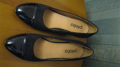 Новые удобные стильные замшевые лаковые чёрные туфли