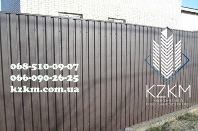 Профнастил матовый темно-коричневый RAL 8019, купить матового цвета профлист Киев