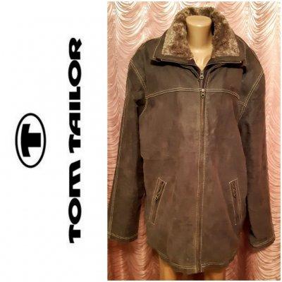 Мужская кожаная зимняя куртка.Tom Tailor. Размер XXXL.