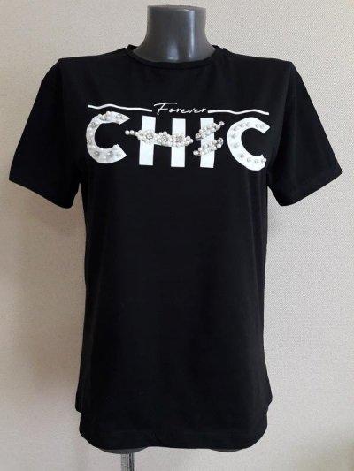 Черная базовая натуральная футболка,оверсайз,с эффектными пробивными бусинами-жемчугом