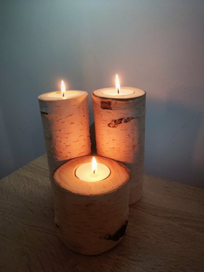 Подсвечник свеча из березы