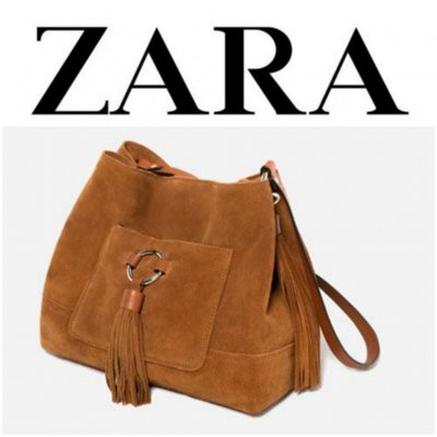 ZARA. Замшевая сумка-мешок с кистями из коллекции Zara.