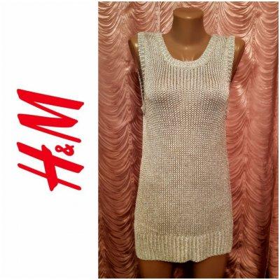 Вязанная ажурная майка-безрукавка, туника. H&M. 44-46 размер.