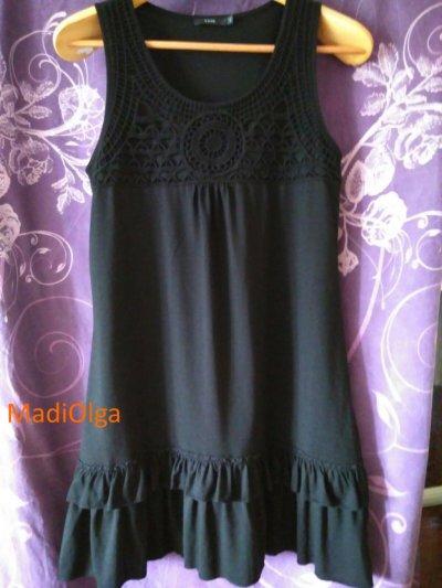 Платье zero размер 44/ Чорна сукня / верх ажурная вязка