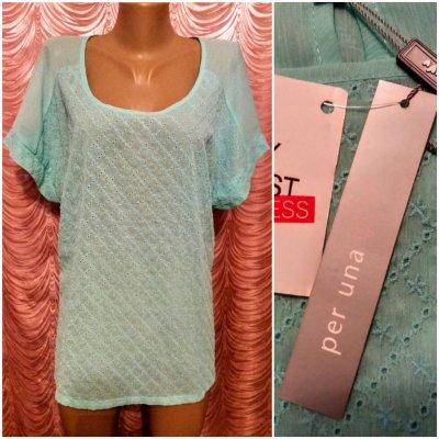 Мятная блузка из прошвы. Per Una. 52 размер.