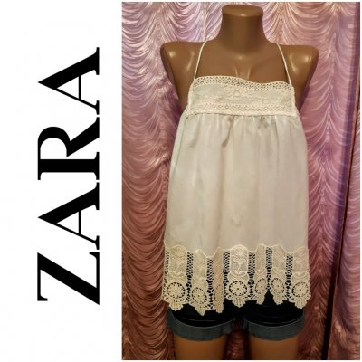 Блуза-топ с широким кружевом. Zara. 44-46 размер.
