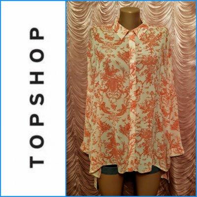 Винтажная блуза-рубашка оверсайз. Topshop. 100% вискоза. 42 размер.