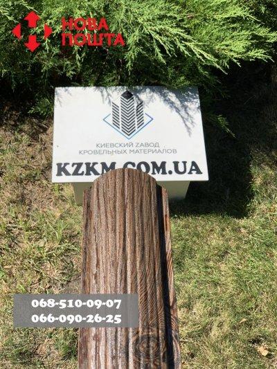Штакетник усиленный, Евроштакетник из профнастила, металлический под дерево орех с сучком.