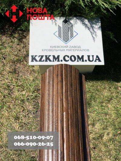 Штакетник усиленный, Евроштакетник из профнастила, металлический под темное дерево марун.