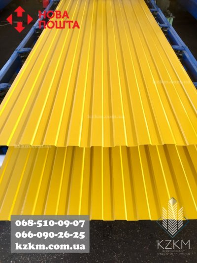 Забор жёлтого цвета, жёлтый профнастил RAL-1003 для забора