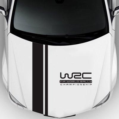 Наклейка на капот авто две полосы+WRC Чёрная
