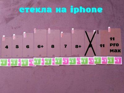 Стекло закаленное на iphone 4,5,6,6+,7,7+,8,8+11,11 Pro Max защита экрана