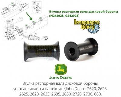 Втулка распорная вала дисковой бороны John Deere (N242928, G242928)