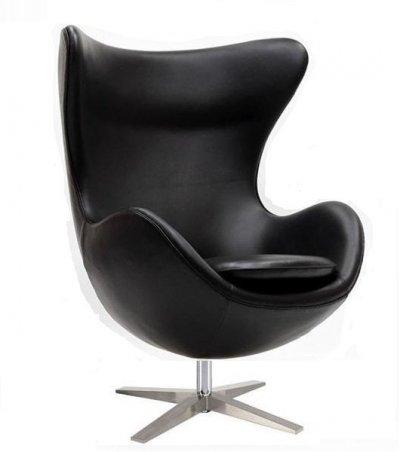 Кресло яйцо Эгг (Egg), кожзам, цвет черный