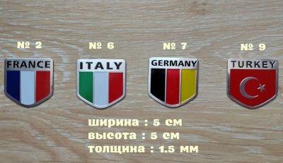 Наклейка на авто или мото Флаги Стран алюминиевые
