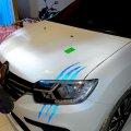 Наклейка на авто или мото в виде Царапины Когтем Синяя Светоотражающая
