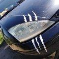 Наклейка на авто в виде Когтя от зверя Белая Светоотражающая